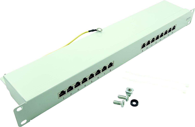 19 inch Distribution Panel STP Light Grey 24-Port LogiLink Professional PrimeLine Patch Panel Shielded