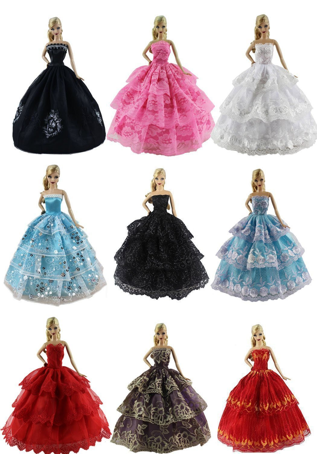 US 6 PCS Fashion Handmade Wedding Party Clothes Dress Gown