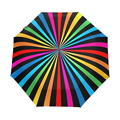 Windproof Auto Open Close Abstract Colorful Stripes Compact Travel Umbrella