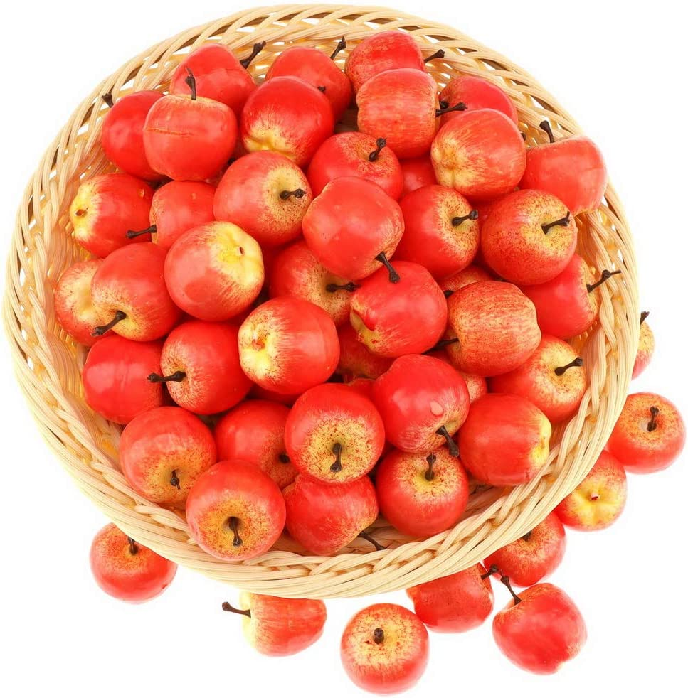 Gresorth 30pcs Mini Artificial Pink Apple Decoration Fake Fruit Home Party Kitchen Food Toy Display - 3.5 cm
