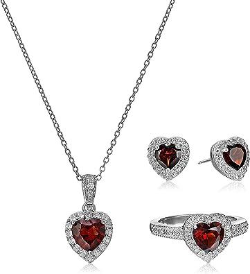 LOVELY DEEP GARNET HEART .925 Sterling Silver Earrings