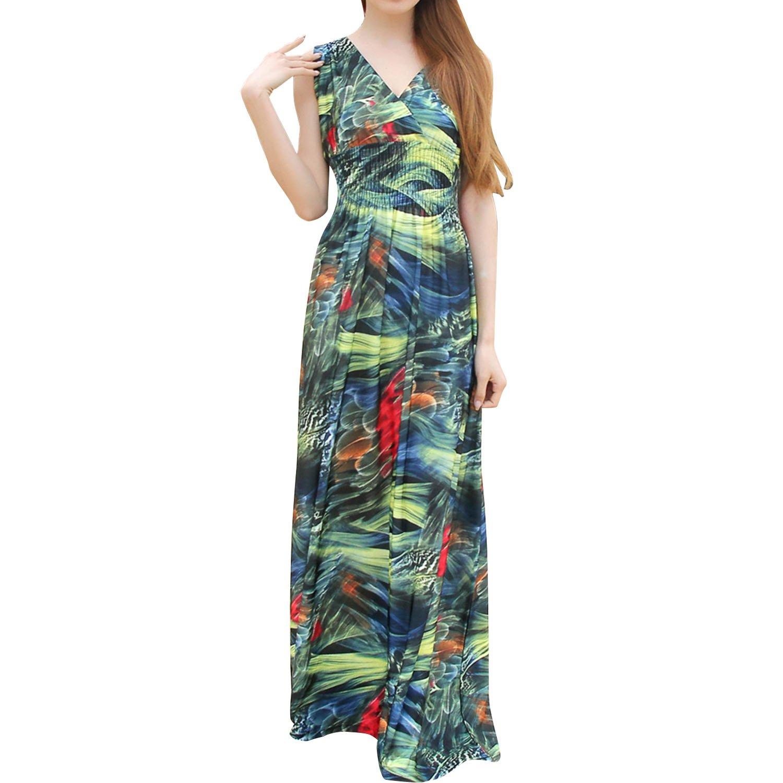 SUNNOW Damen Strandkleider Lange Sommer Frauen Kleid mit großen Blumen Sexy tief V-Ausschnitt Neckholder Plus Größe XL Qualität Milch Seide Strand Bekleidung