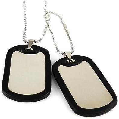 AKIEE Collar para Hombre Chapa Militar De Identificacion Acero Inoxidable