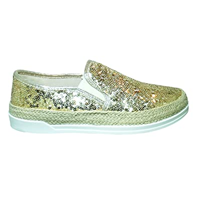 Damen Pailletten Plateau Party Sneaker Turn Schuhe Tanz Slipper Kork Gr. 36-41 (37, Gold)