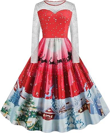 JIER Damska Weihnachten Hepburn Vintage Abendkleid Elegante Frohe Weihnachten Spitze Abendgesellschaft Cocktailkleider Langarm Weihnachts Print Rockabilly Swing Kleid: Odzież