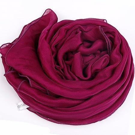 Châles MEIDUO Femme Foulard en Soie 100% Soie Printemps et d hiver Hiver  Foulards en Soie Rectangle 180   110cm (Couleur   Light Orange Gradient)   ... 46f982340da