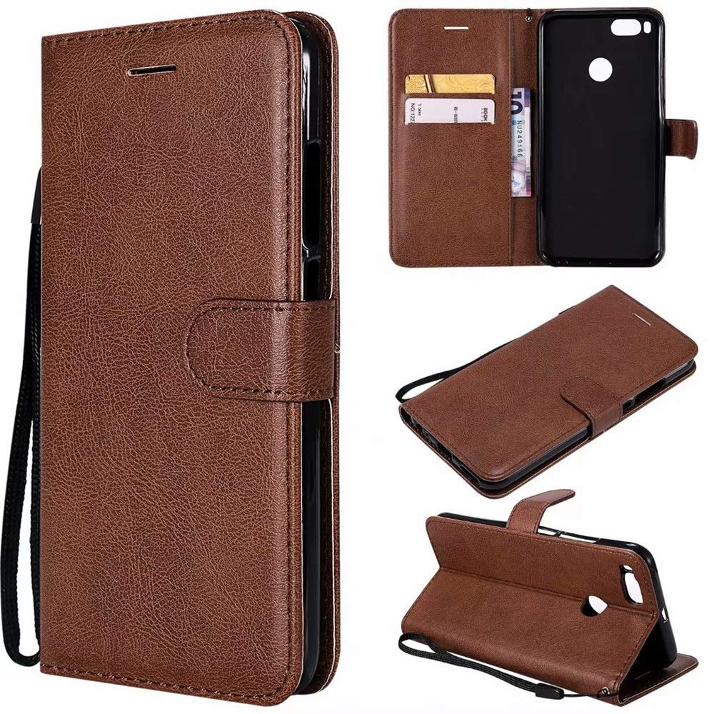 Zhusha Mobile Phone case, Solid Color Premium Quality PU Leather Flip Wallet Stand Case with Wrist Strap for Xiaomi Mi A1 / Mi 5X (Color : Brown)