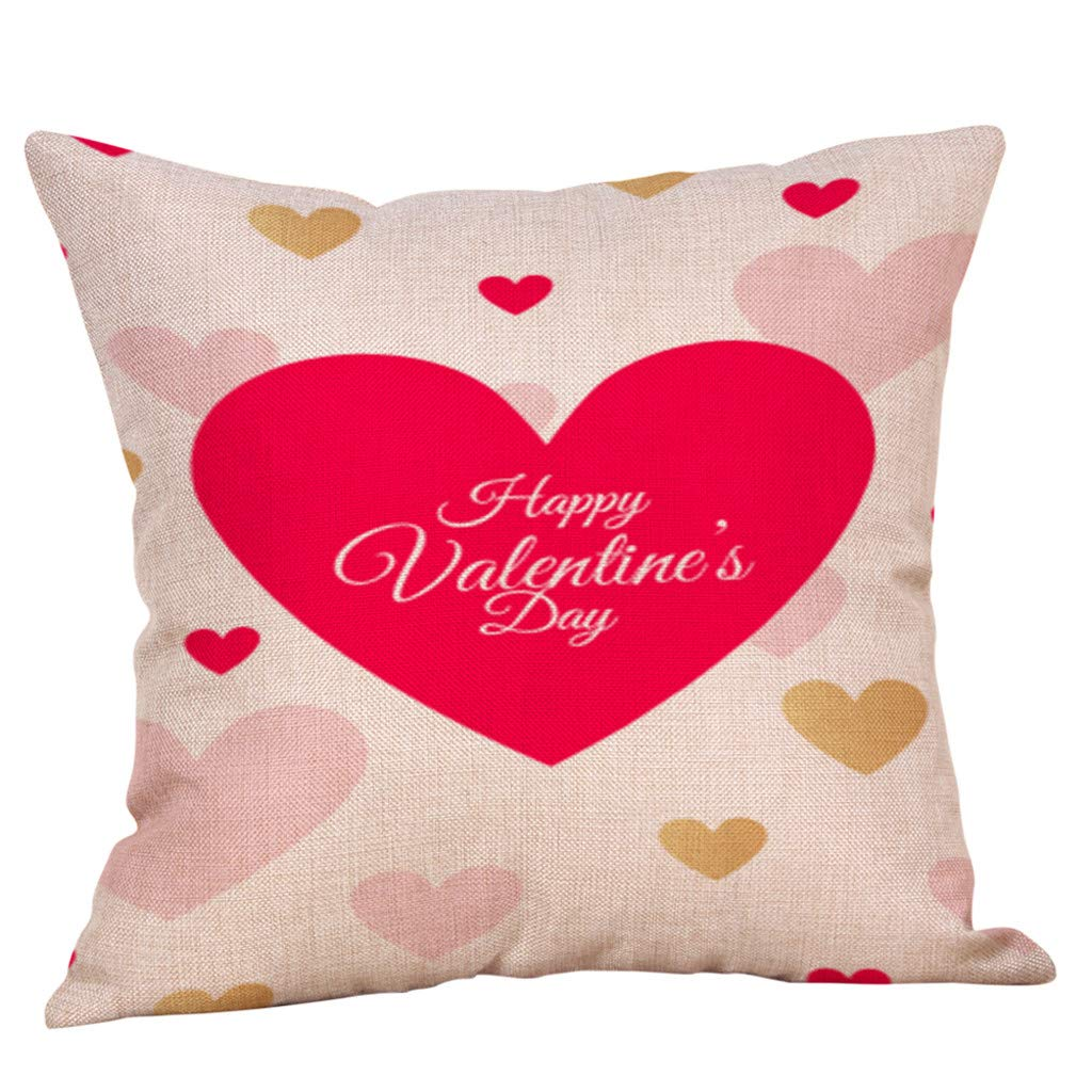 Happy Valentine's Day Sikye Zippered Throw Pillow Case Sweet Love Heart Cushion Cover for Living Room Decor, Square,Easy Care (B)