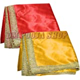 Om Pooja Shop - Satin Altar Cloth for Multipurpose Use Set of 2 - Red & Yellow Color