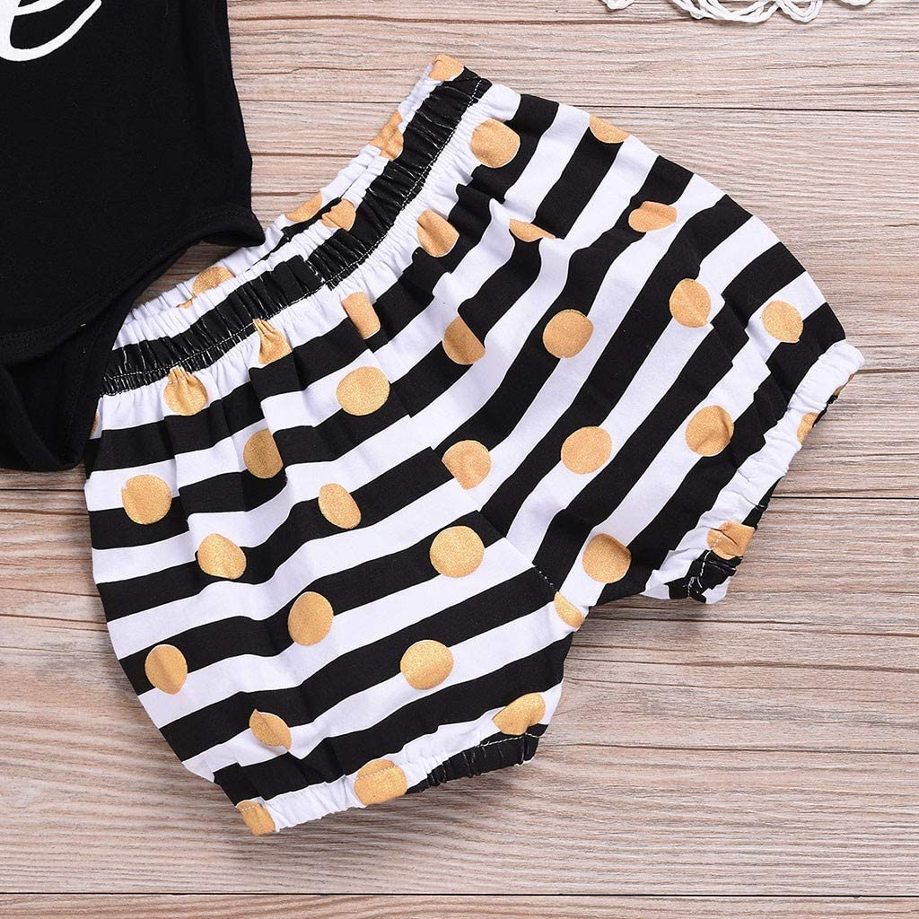 Waymine Toddler Baby Feather Letter Print Romper Tops+Stripe Wave Point Shorts Set