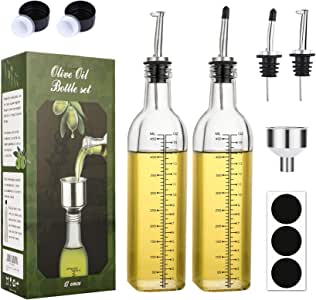 [2 PACK]Aozita 17 oz Glass Olive Oil Dispenser Bottle Set - 500ml Clear Oil & Vinegar Cruet Bottle with Pourers, Funnel and Labels - Olive Oil Carafe Decanter for Kitchen