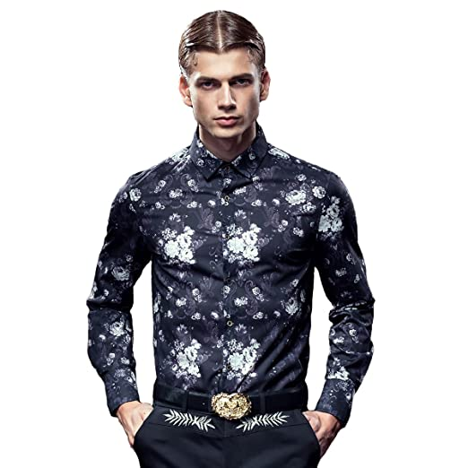 Fanzhuan 2017 Mens Black Fancy Shirt Fashion Style Long Sleeve Slim