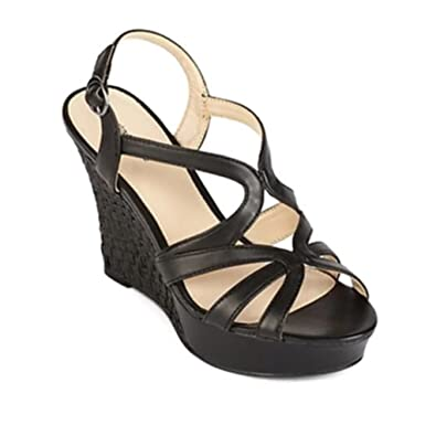 adfd52c347f Image Unavailable. Image not available for. Color  Liz Claiborne Womens  Tisket Black Sandals ...