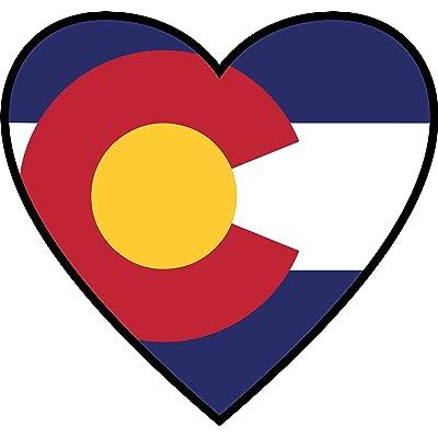 Colorado Sticker | CO State Flag Heart Label | Apply to Mug Phone Laptop Water Bottle Decal Cooler Bumper | Denver Bronco Nugget Rocky Mountain High 14ers CU Boulder Avalanche 303 Pike Peak Mile Ram: Automotive
