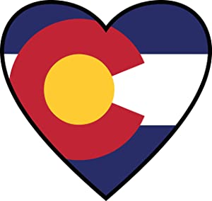 Colorado Sticker | CO State Flag Heart Label |Apply to Mug Phone Laptop Water Bottle Decal Cooler Bumper | Denver Bronco Nugget Rocky Mountain High 14ers CU Boulder Avalanche 303 Pike Peak Mile Ram