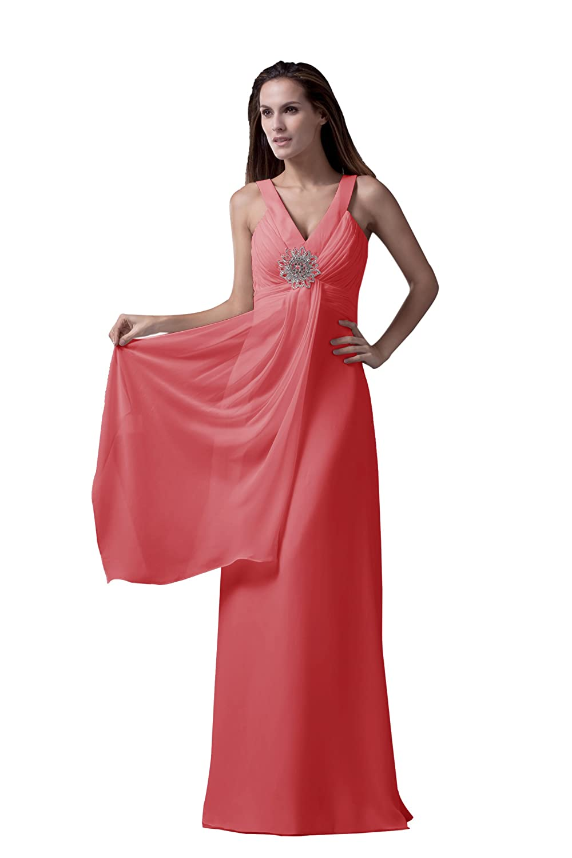 Dresstells Modern Damen Kleid Bodenlang Chiffon Abendkleid ...
