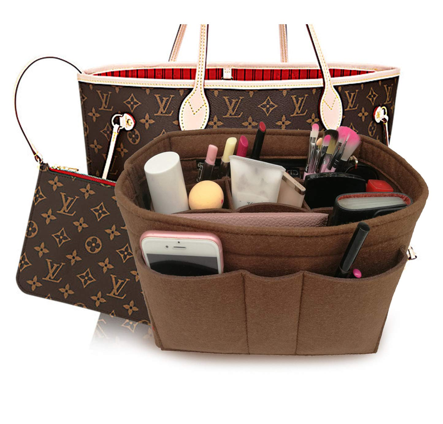 LEXSION Felt Insert Fabric Purse Organizer Bag, Bag Insert in Bag with Zipper Inner Pocket Brown XL by LEXSION (Image #1)