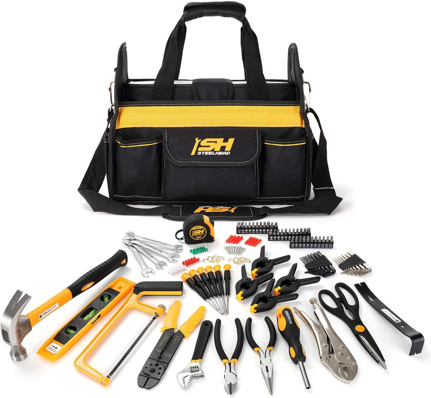 "STEELHEAD 117-Piece Tool Set, Screwdriver Handle, 33 Bits, Screwdrivers, Pliers, Tape Measure, 9"" Level, Hammer, Prybar, Wrenches, Scissors, Saw, Clamps, 14"" Tool Tote, Home, Office, USA-Based Support"