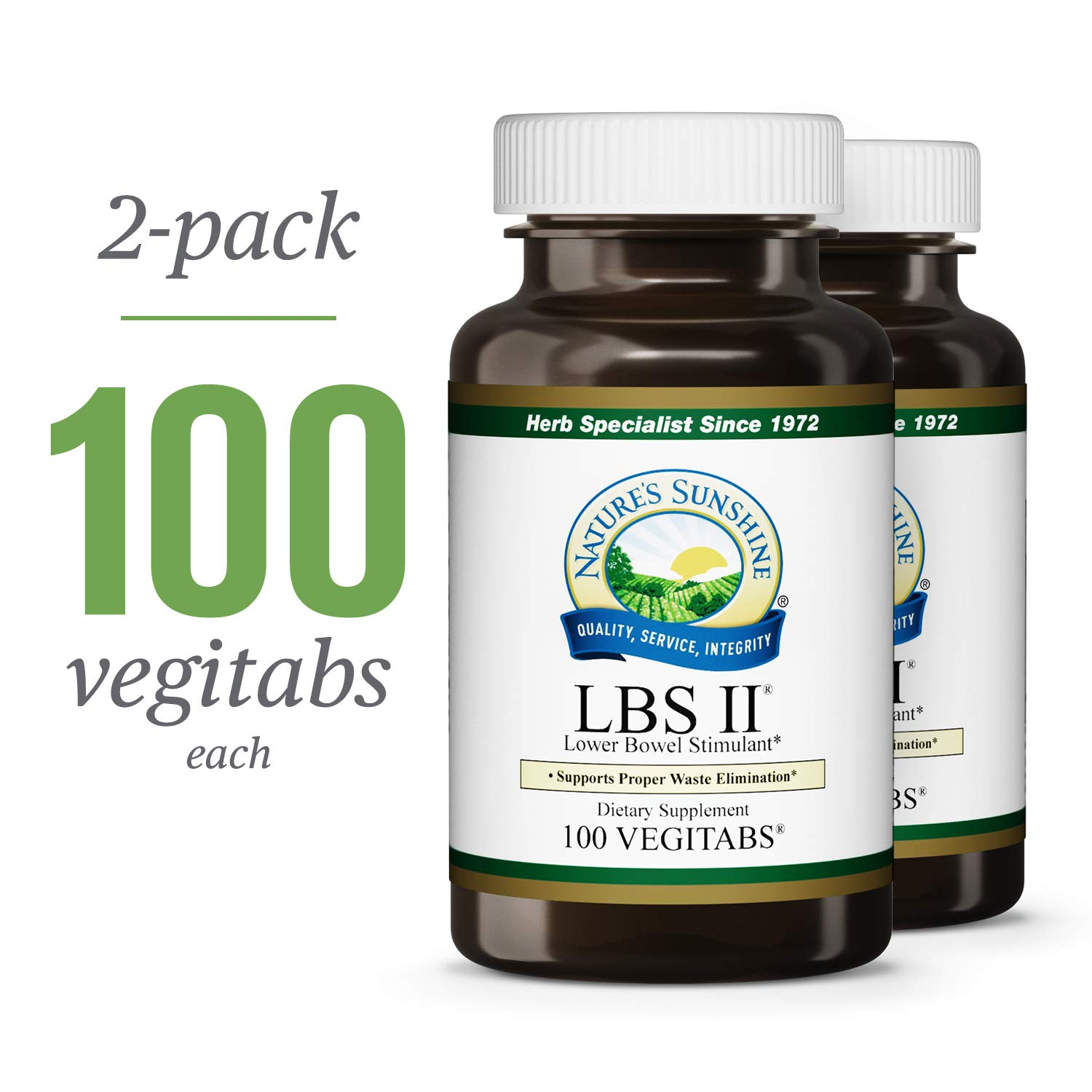 Nature's Sunshine LBS II, 100 Vegitabs, 2 Pack | Herbal Laxative with Cascara Sagrada Bark Supports The Digestive System and Lower Bowel Health by Nature's Sunshine