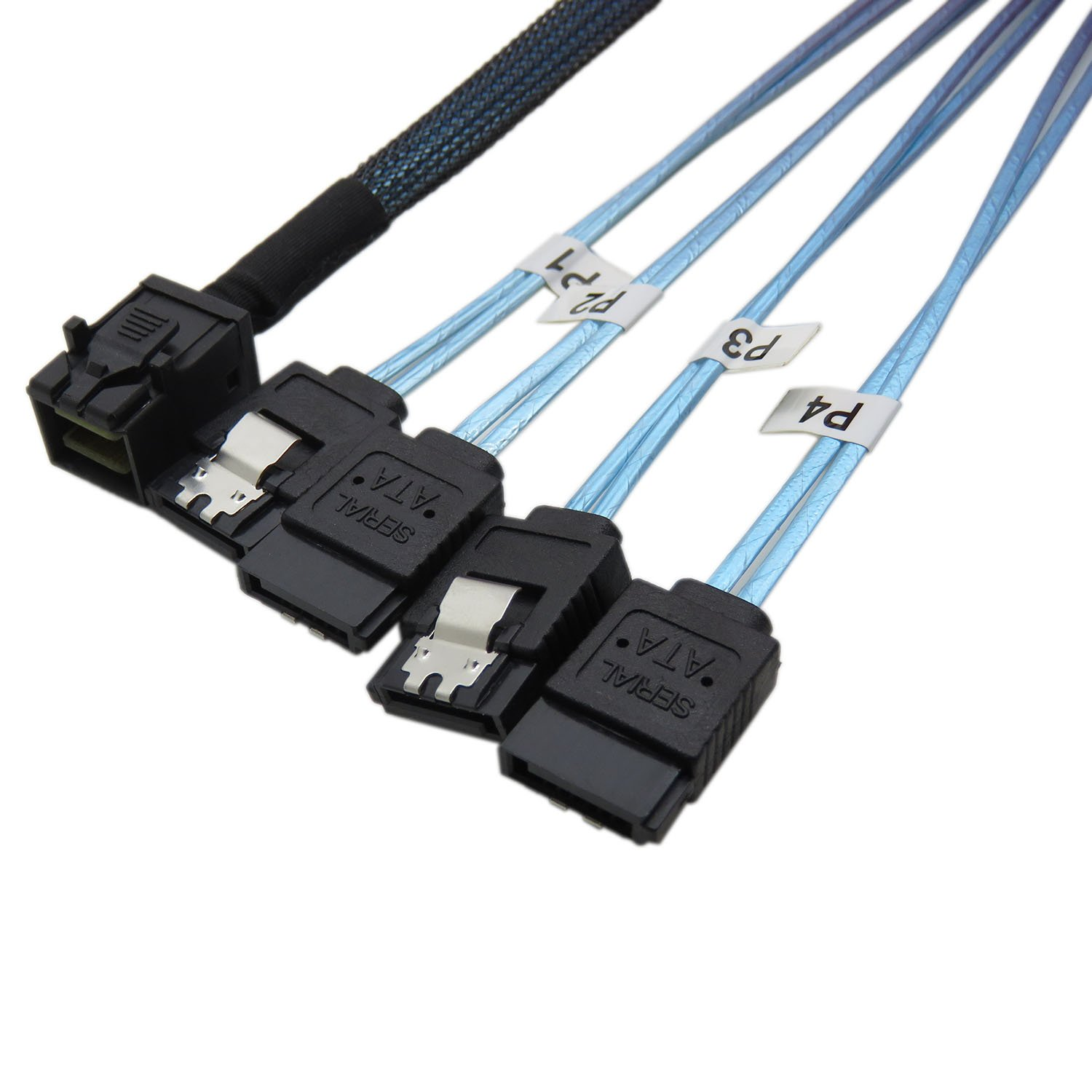 CableDeconn Internal HD Mini SAS (SFF-8643 Host) to 4X SATA (Target) Hard Drive Cable (100CM)