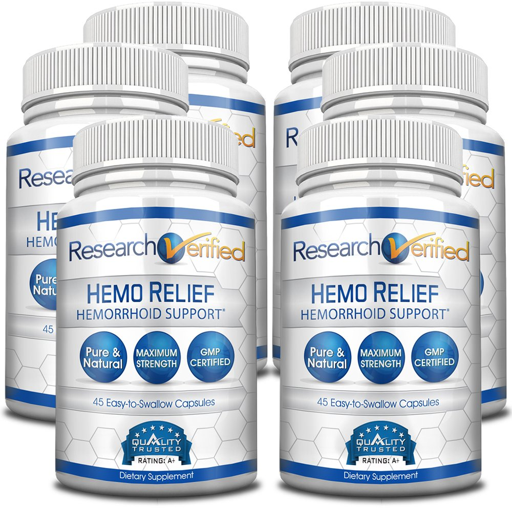 Research Verified Hemo Relief - #1 Hemorrhoid Relief on the market - The best solution- Provides a Relief & Repair for immediate relief and long-term healing - 100% back guarantee! - 6 Bottles Supply by Research Verified