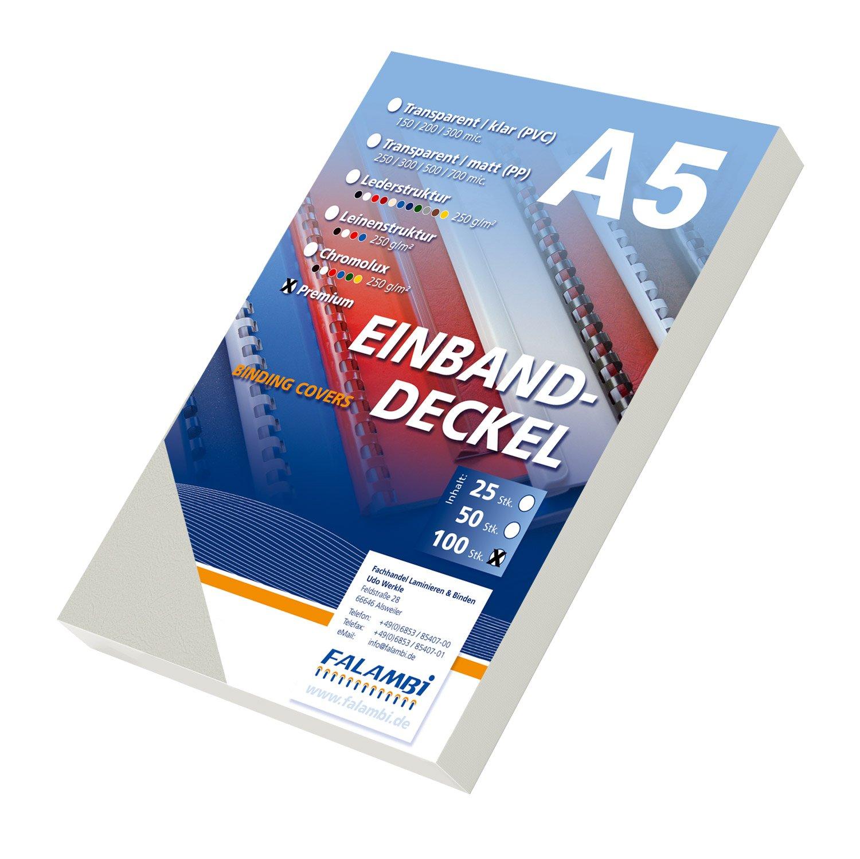 100 Einbanddeckel DIN A5 Premium 240, Lederstruktur, Rückenkarton (bordeaux) Rückenkarton (bordeaux) FALAMBI