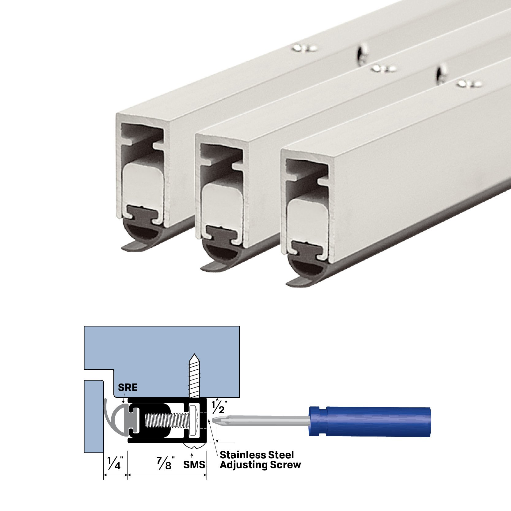 Adjustable Clear Anodized Architectural Door Seal Kit (36'' X 84'')
