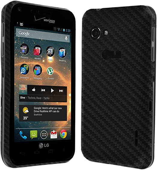 Skinomi Pink Carbon Fiber Full Body Skin Compatible with LG Optimus Dynamic II TechSkin with Anti-Bubble Clear Film Screen Protector Full Coverage L39C