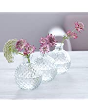 Set Of Three Faceted Glass Vases