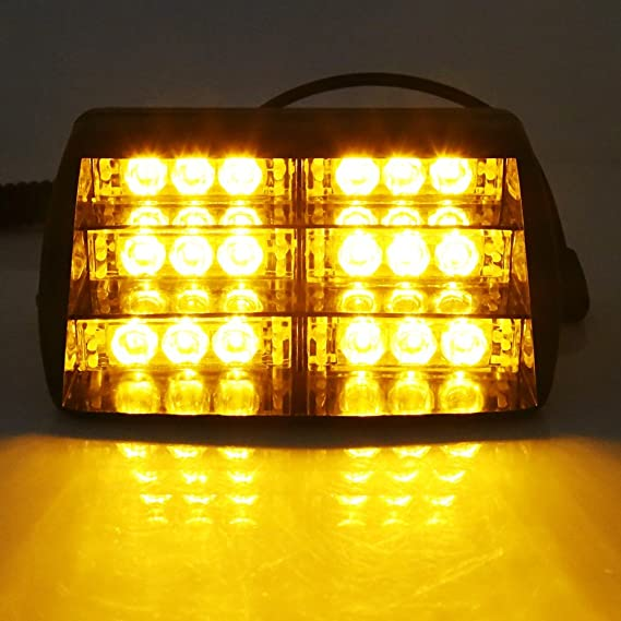 12v  AMBER RECOVERY STROBE LED LIGHTS ORANGE ROADWORK DASH WINDSCREEN UK SELLER