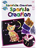 Childrens Craft Set Sequin Gemstone Art Cross Stitch Embroidery Knitting Bracelets (Sequin Creations Cat)