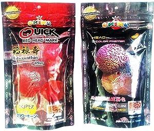OKIKO Set of 2 Quick Red Mark, Platinum Head Huncher Cichlid Flowerhorn M Pellets Fish Food 3.5 oz (100g)