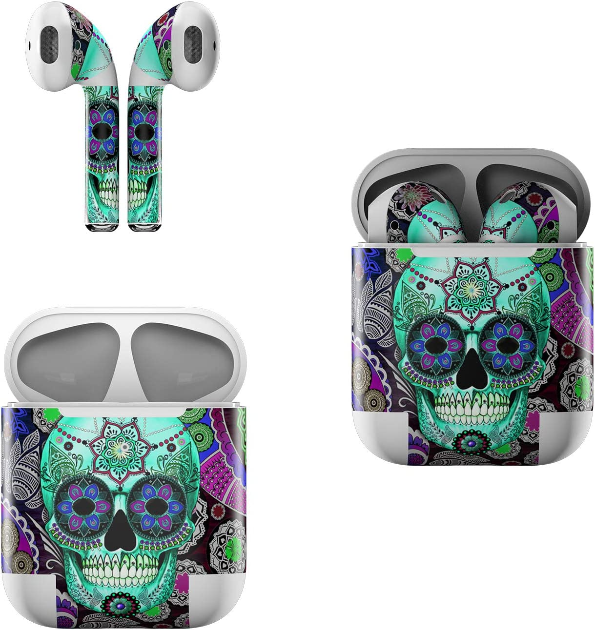 Skin Decals for Apple AirPods - Sugar Skull Sombrero - Sticker Wrap Fits 1st and 2nd Generation