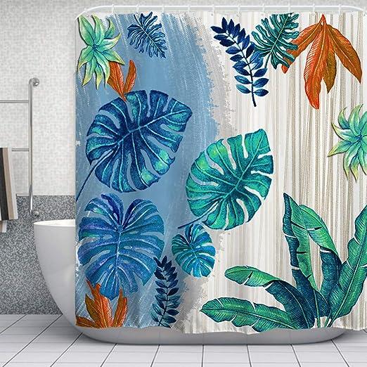 "Amazon Blue Tropical Leaves Bathroom Shower Curtain Polyester 70/"" x 72/"""