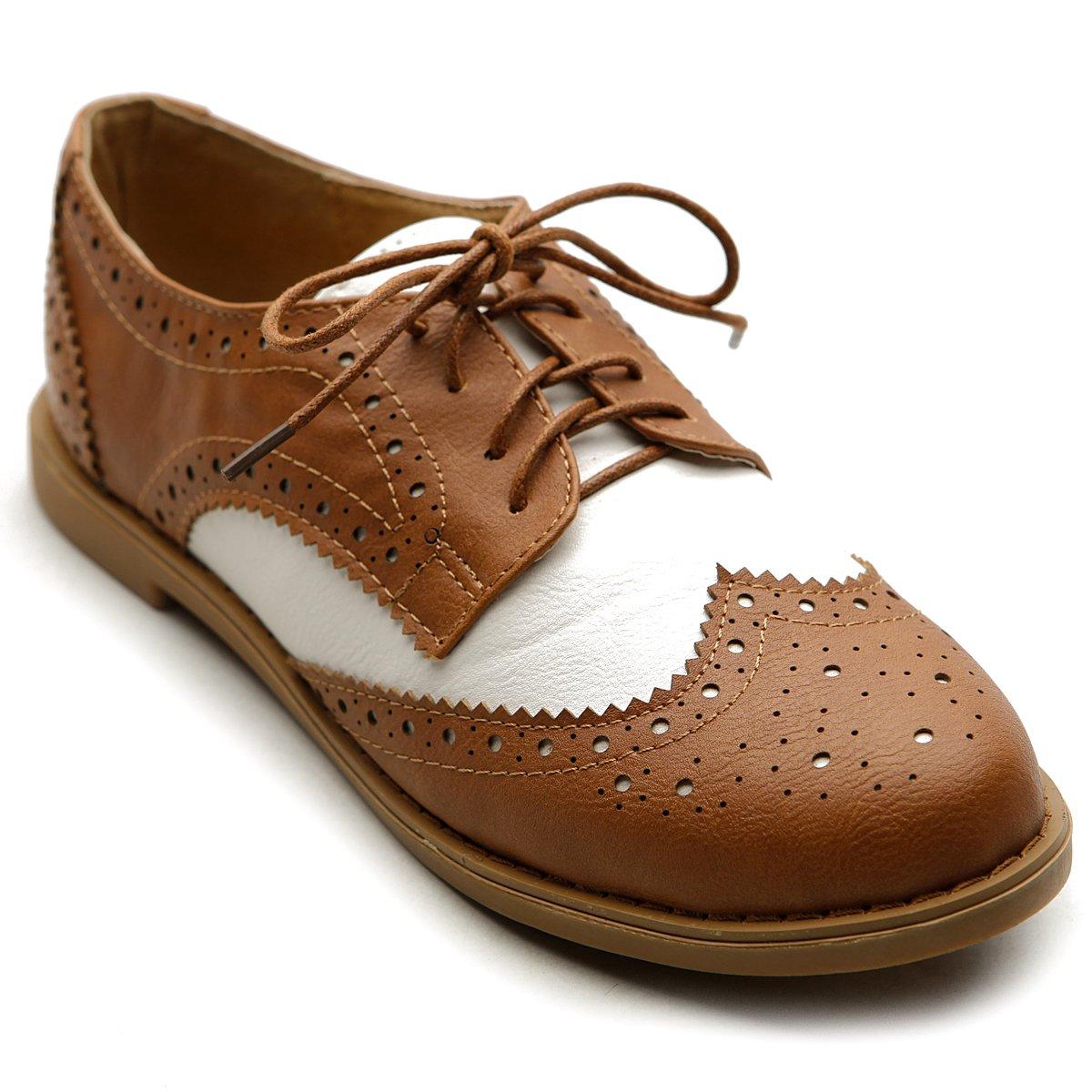 Ollio Women's Flat Shoe Wingtip Lace Up Two Tone Oxford M2913(9 B(M) US, Brown)