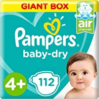 Pampers Baby-Dry Diapers, Size 4+, Maxi+, 10-15 kg, Giant Box, 112 Count