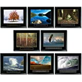 8 Framed Motivational Posters Inspirational Office Decor Collection 22X28