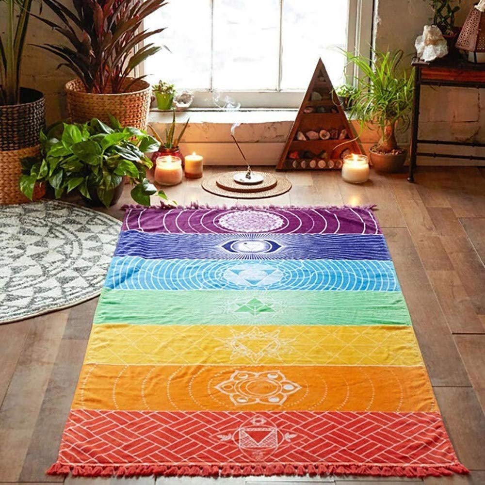 Coerni Rainbow Tapestry Yoga Mat Sunscreen Shawl Tapestry Boho Gypsy Home Decoration (39×18 inch)