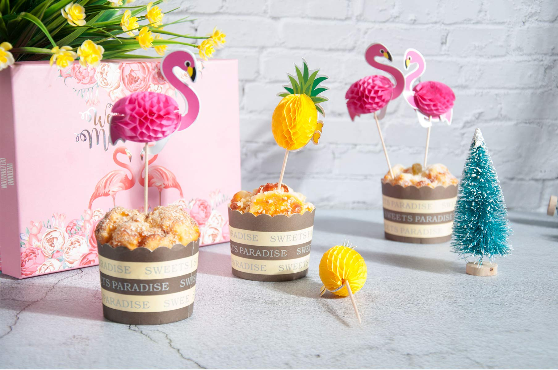 Lauren 48 Pcs Cupcake Toppers 3D Flamingo and Pineapple Cupcakes Toppers Food Picks Party Cocktail for Party Tropical Cupcake Picks Decoration by Lauren (Image #1)