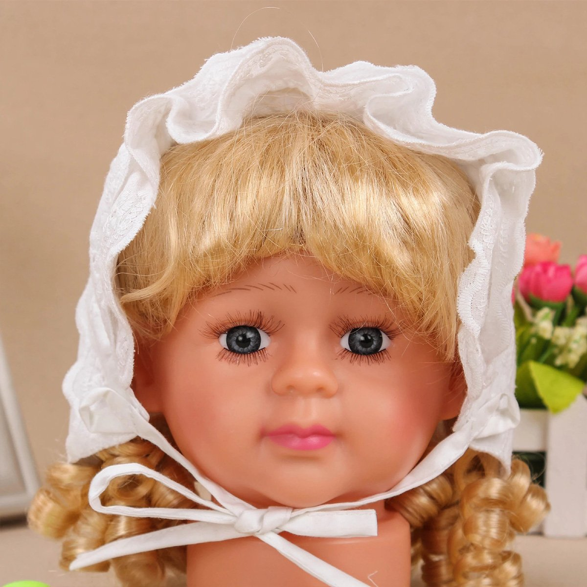 Slowera Cap Baby Girls 100% Cotton Double Brimmed Eyelet Lace Bonnet with Flowers (0-3 Months, White) by Slowera (Image #5)