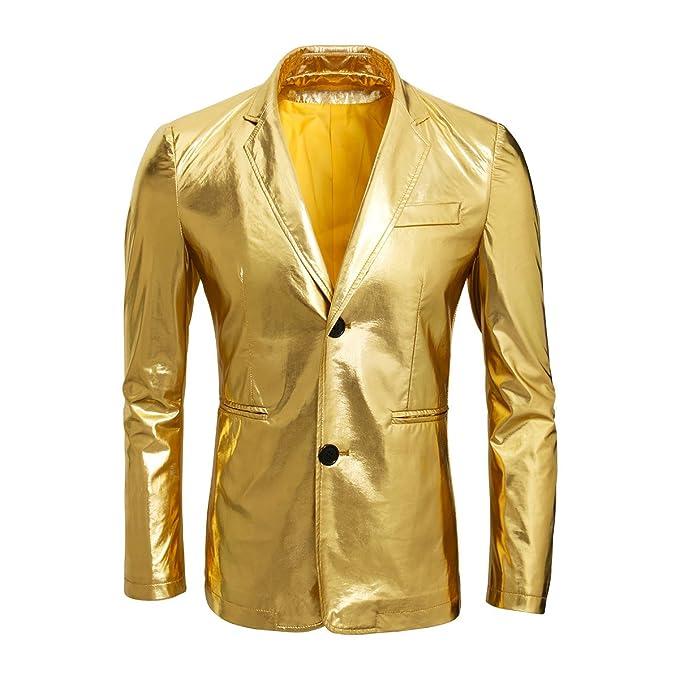 CUSFULL Chaqueta Casual Dorado Brillante para Hombre Chaqueta de ...