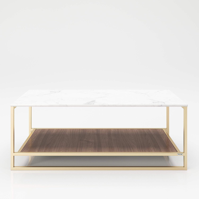 PLAYBOY 215802NBW - Mesa de Centro de Almacenamiento con 2 estantes, decoración, Nogal, Dorado, mármol, 120 x 45 x 60 cm: Amazon.es: Juguetes y juegos