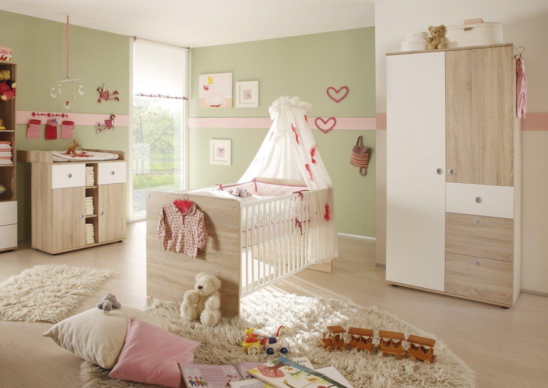 Babyzimmer Wiki komplett 3-tlg. Eiche Sonoma NB / Weiß