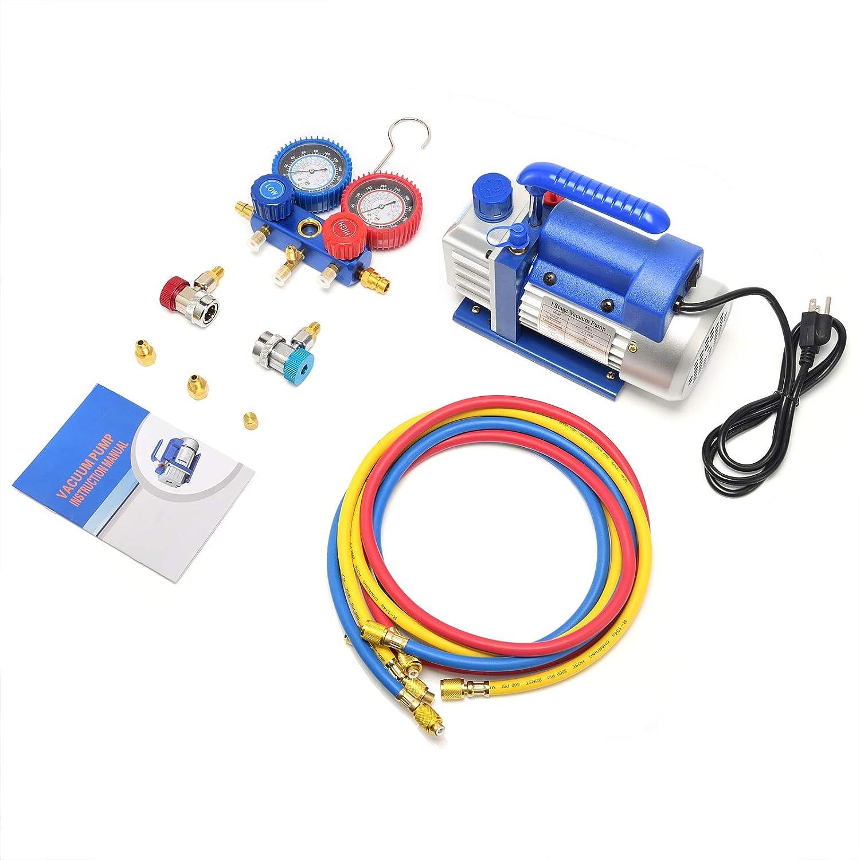 Kwasyo 3CFM Simple /étage Pompes /à Vide et Collecteur Jauge Ensemble//Manifold Gauge 1 4HP 85 Lt//Min Id/éal pour R22 R134a etc Climatisation A//C r/éfrig/ération kit