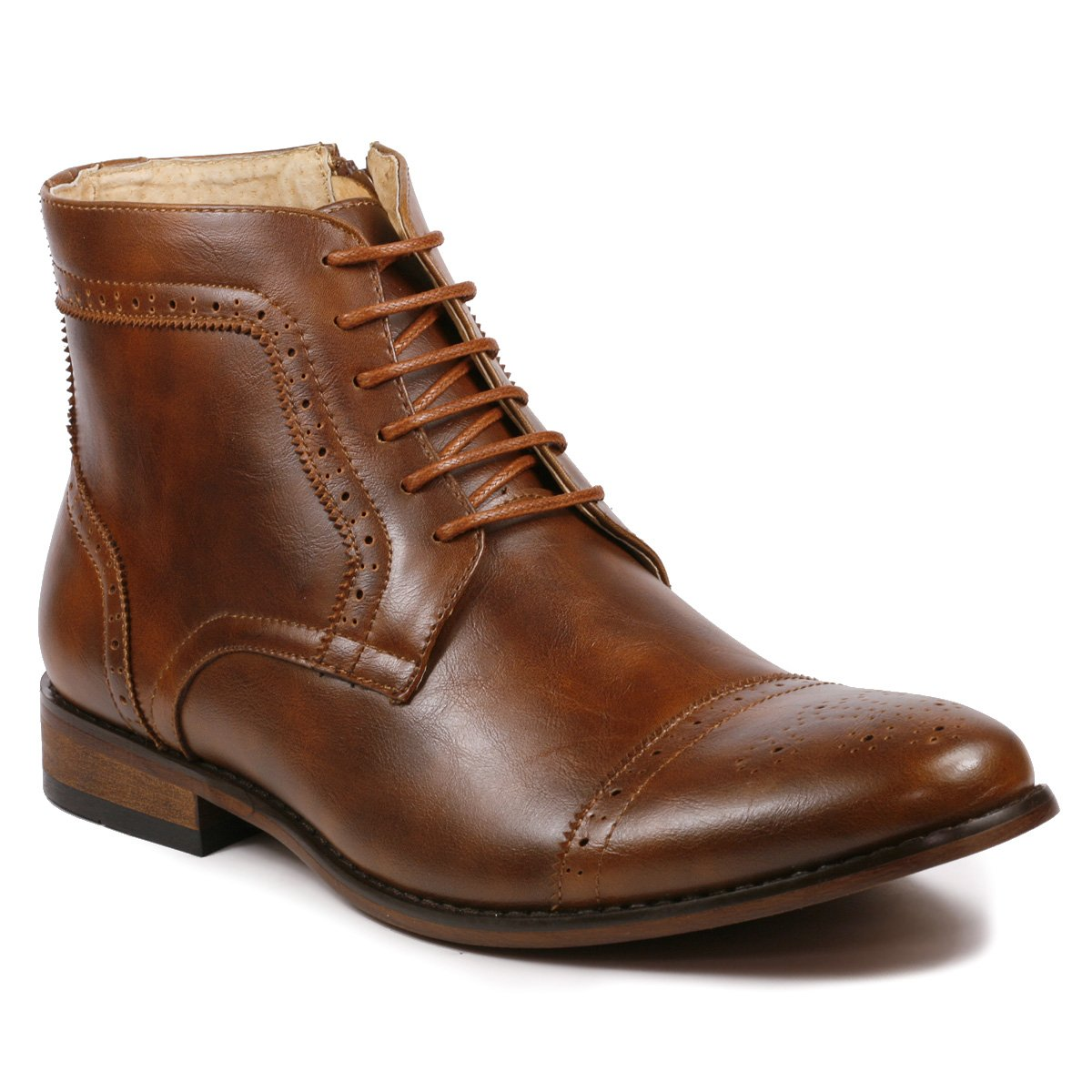 Metrocharm MC123 Men's Cap Toe Lace up Dress Casual Ankle Boot (9, Brown) by Metrocharm