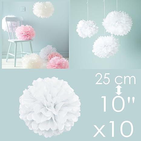 1d5451d9c4c3 KMALL 10 Bianco pompon carta velina festone decorazioni addobbi per nozze  baby show matrimonio compleanno battesimo
