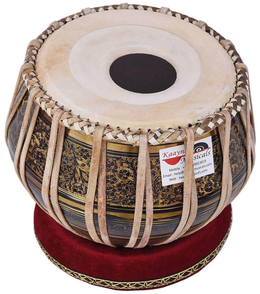 Tabla Drum Set, 2.5 Kg Black Painted Designer Brass Bayan, Beautiful Look, Sheesham Wood Dayan, Hand Made Drum Skin, Camel Leather Strap to Tune, Comes with Tuning Hammer, Gig Bag, Cushion & Cover by Kaayna Musicals (Image #2)