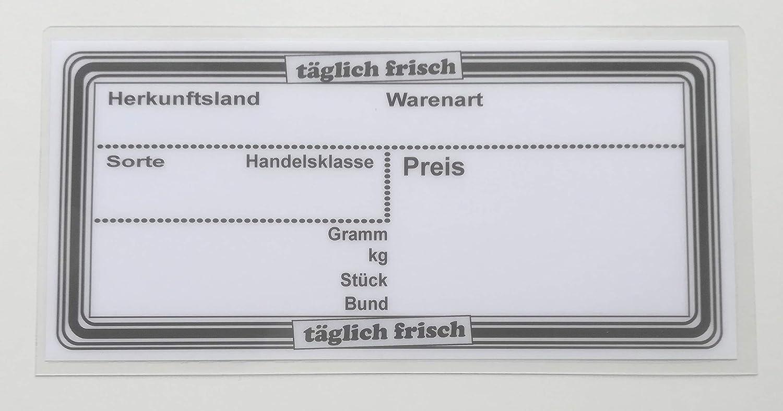 10 laminierte Preisschilder 110 x 216 mm wei/ß f/ür Obst und Gem/üse mit Aufdruck Werbesymbole