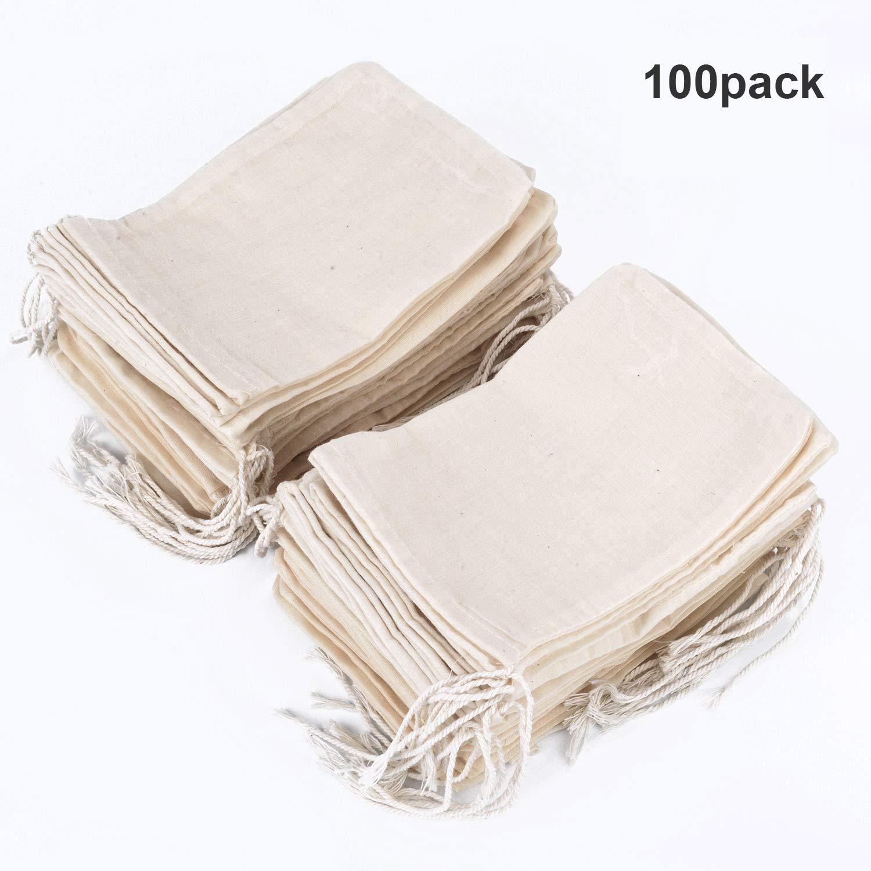 Pangda 100 Pieces Drawstring Cotton Bags Muslin Bags (4 x 6 Inches) by Pangda (Image #1)