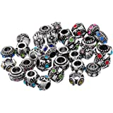Godagoda Silver Color Mixed Colorful Rhinestone European Beads for Charms Bracelet Pack Of 10Pcs